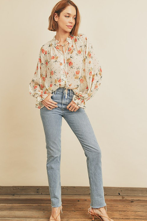 in bloom ruffle neck blouse