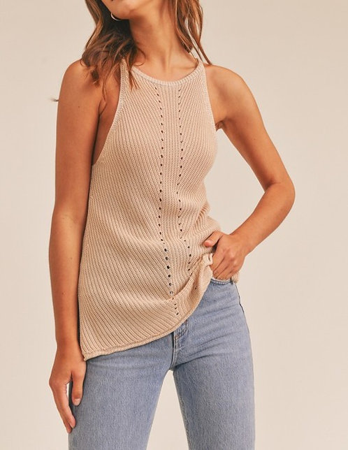 pointelle racer knit top