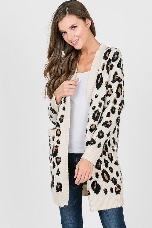 leopard cardigan sweater