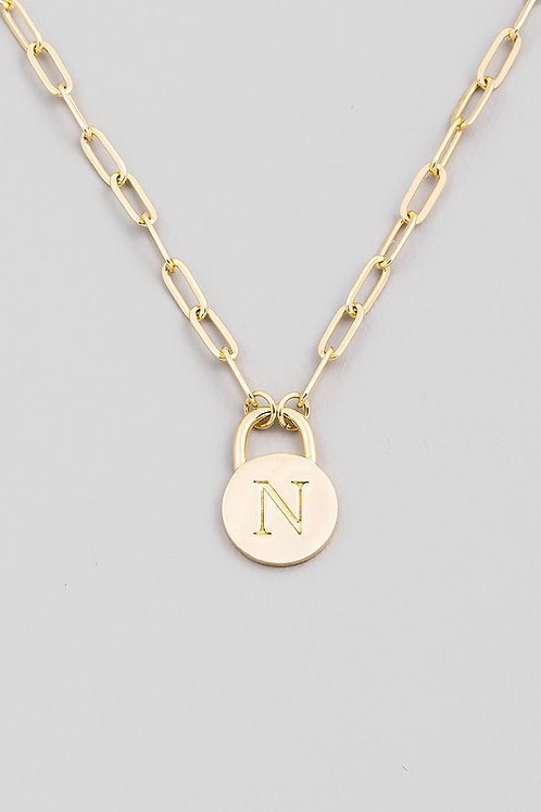 chain link initial necklace   N