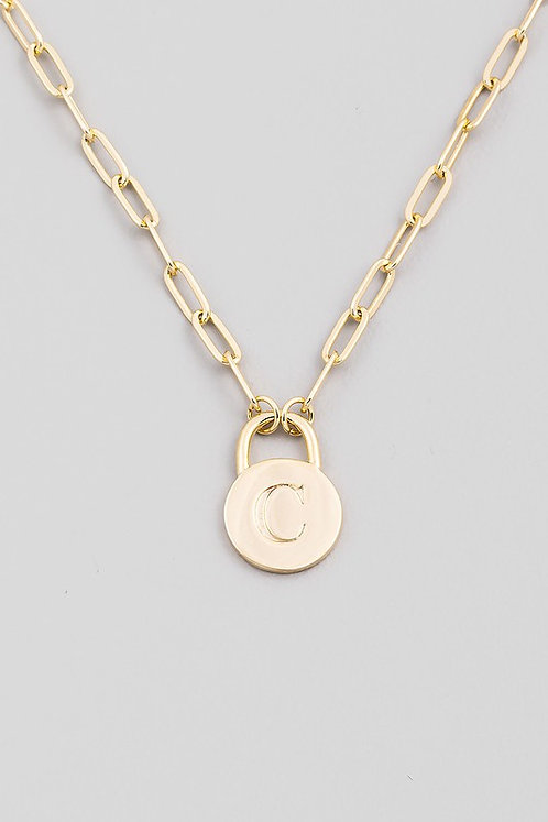 chain link initial necklace   C