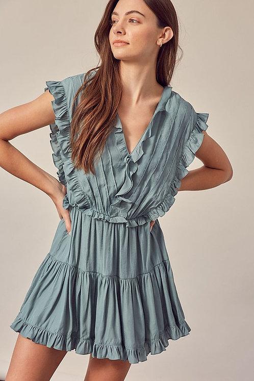 pintuck ruffle mini dress