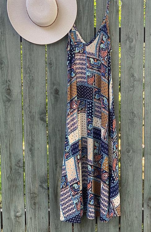patchwork flowy maxi dress
