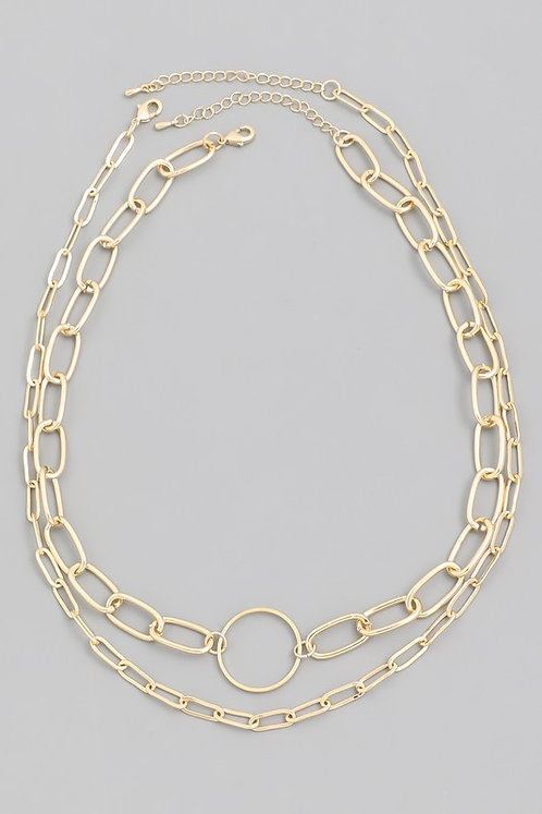 layered circle chain necklace