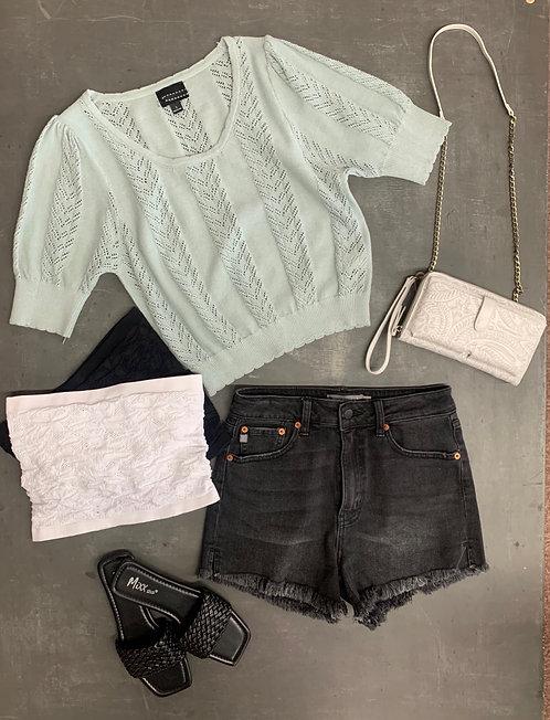 pointelle scallop sweater