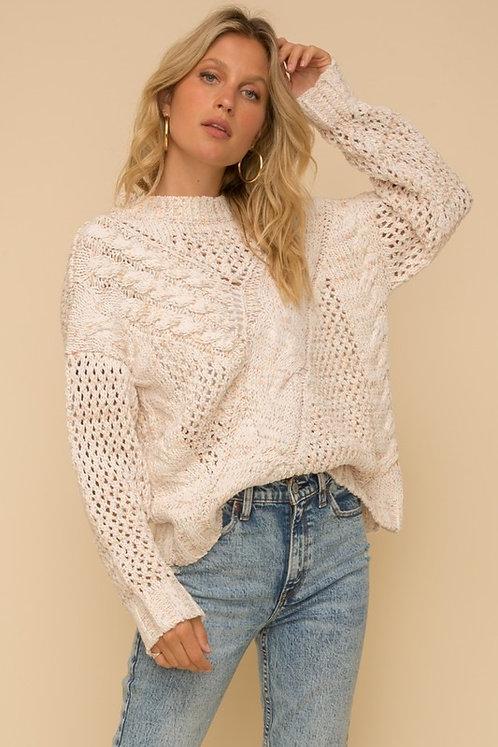 speckle open weave chenille sweater