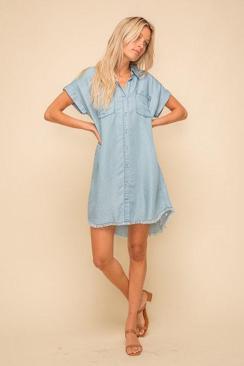 fray chambray shirt dress