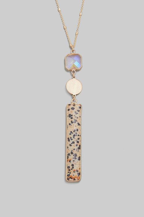semi precious bar long necklace