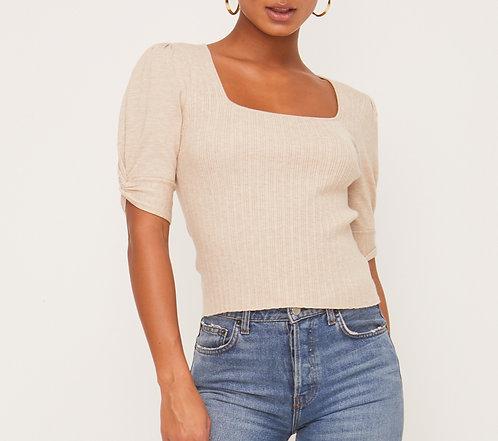 twist sleeve ribbed sweater