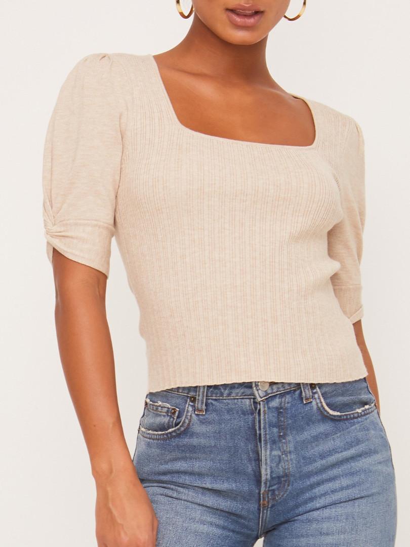 tuck sleeve ribbed sweater