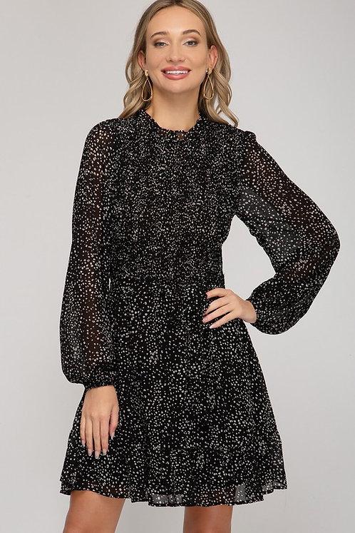 spotted smock mini dress