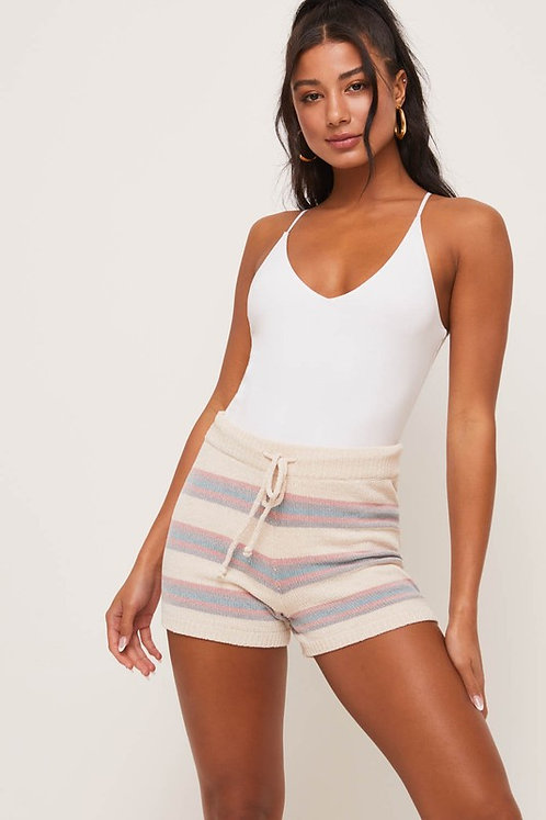 chenille stripe sweater shorrs