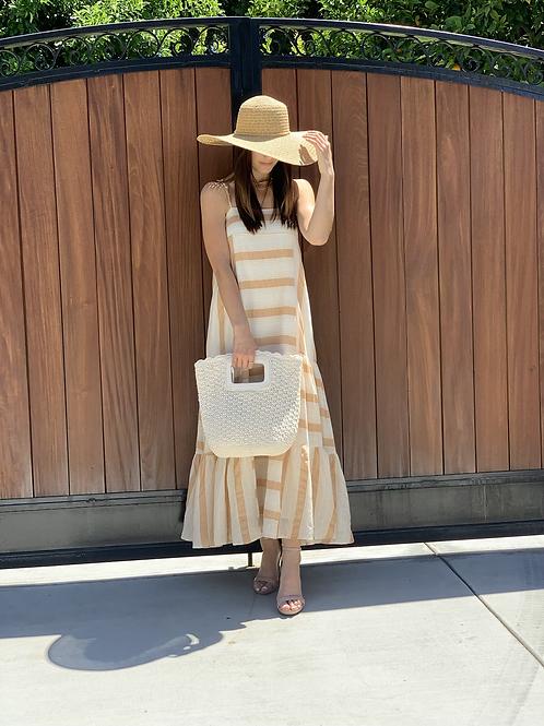 stripe panel maxi dress