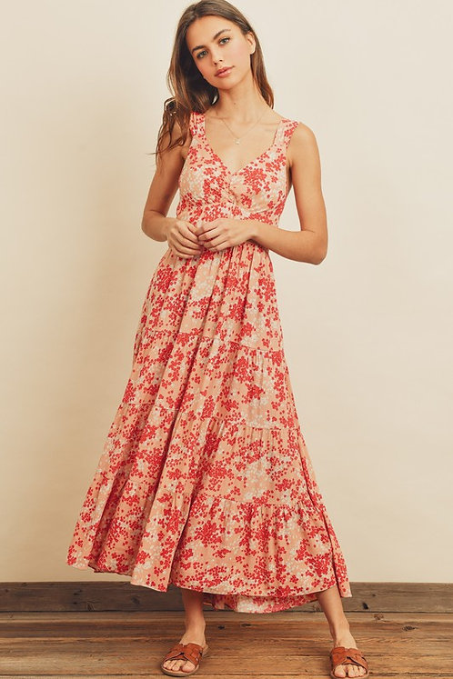 floral tie back tier midi dress