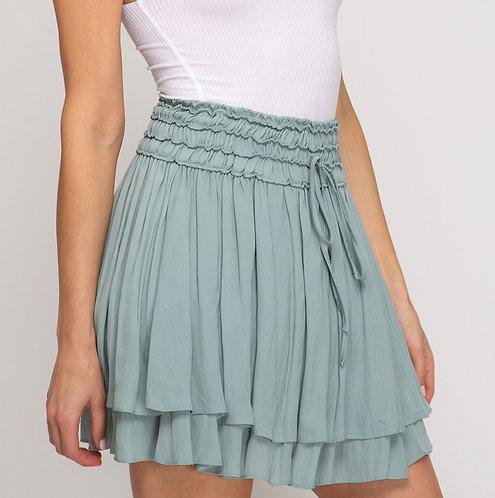 cinch waist double layer mini skirt