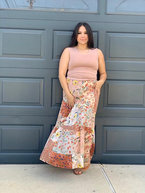 patchwork tier maxi skirt