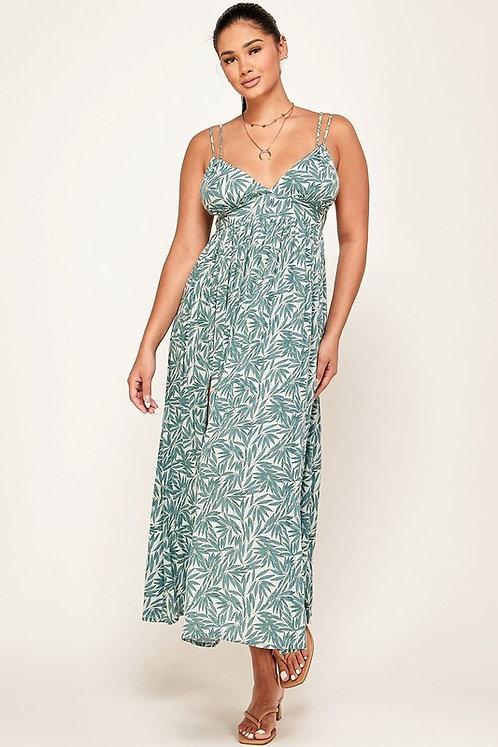 leaf print spaghetti strap midi dress