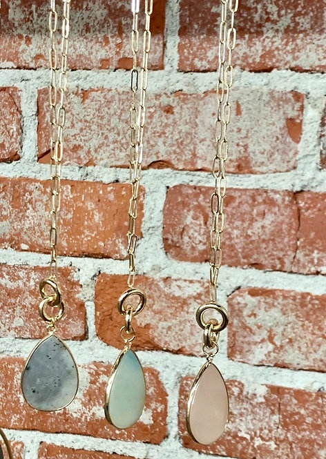 layered teardrop stone necklace