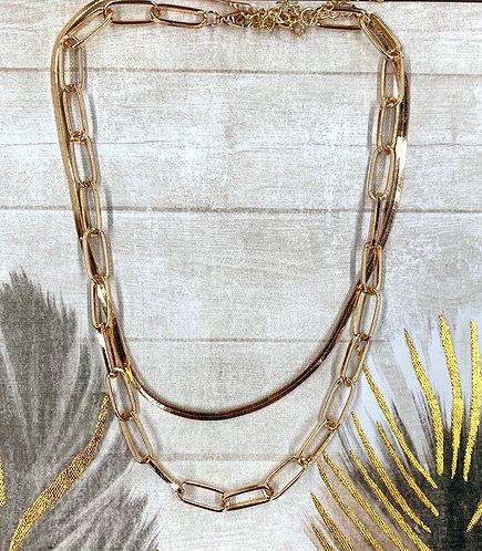 Layered herringbone and chain link