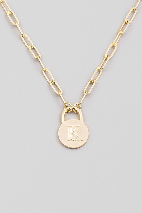 chain link initial necklace   K