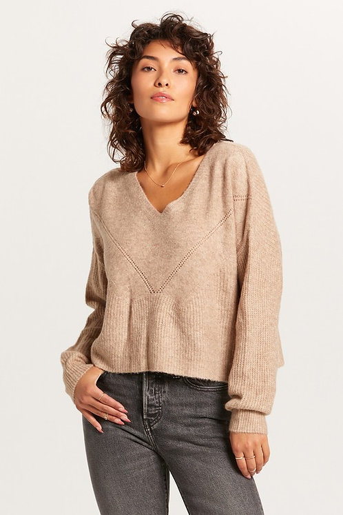 v neck pointelle detail sweater