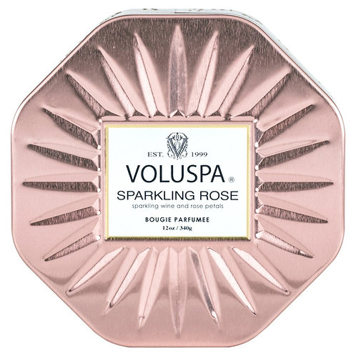 Voluspa Sparkling Rose 3 wick octagon tin