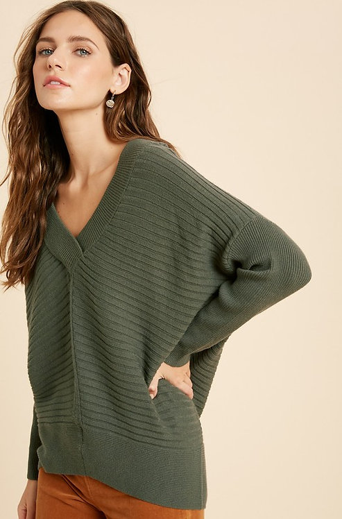 wide rib pullover sweater