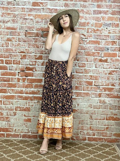 floral border midi skirt
