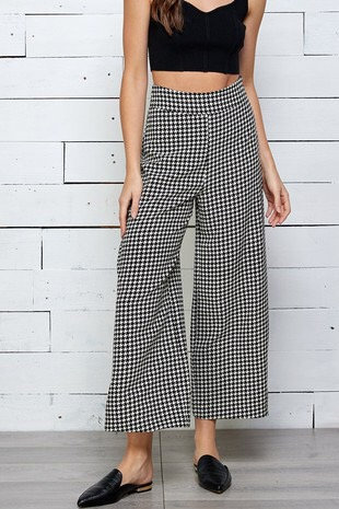 houndstooth wide leg ankle pants