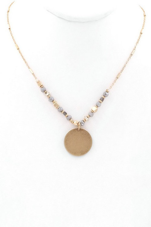 Metal coin pendant seed bead necklace
