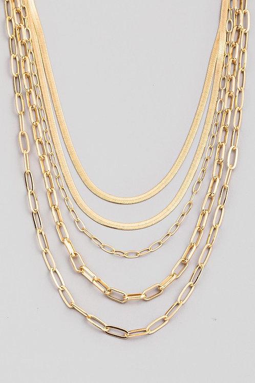 layered herringbone & chain link necklace