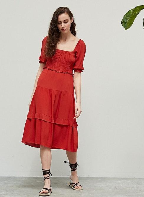 smocked square neck midi dress