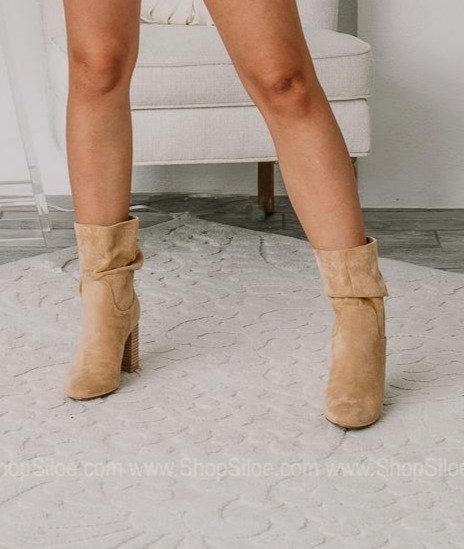 block heel slouch bootie