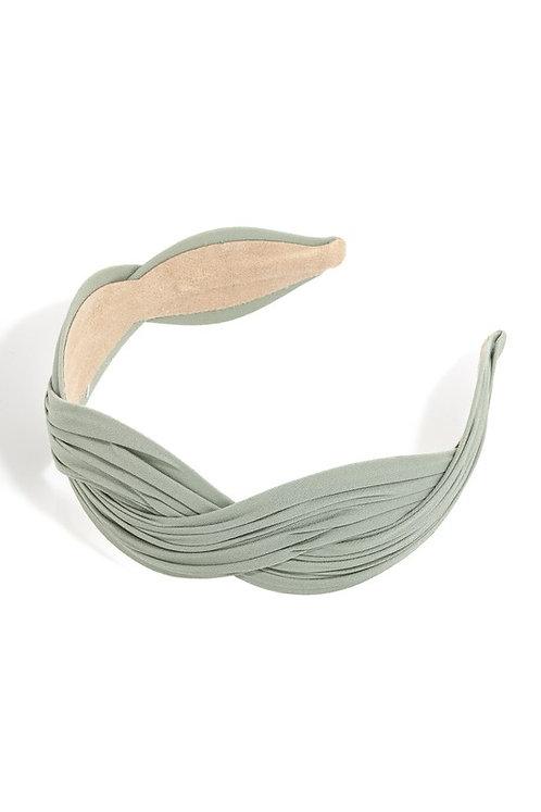 sage pleated headband