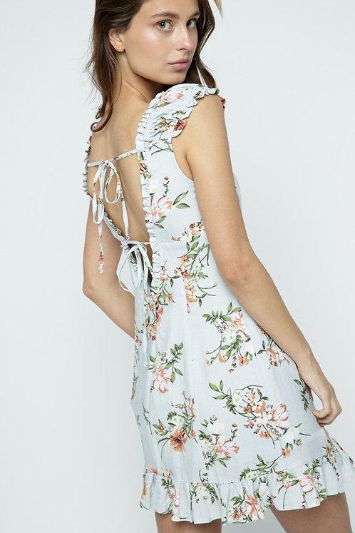 floral linen ruffle trim mini