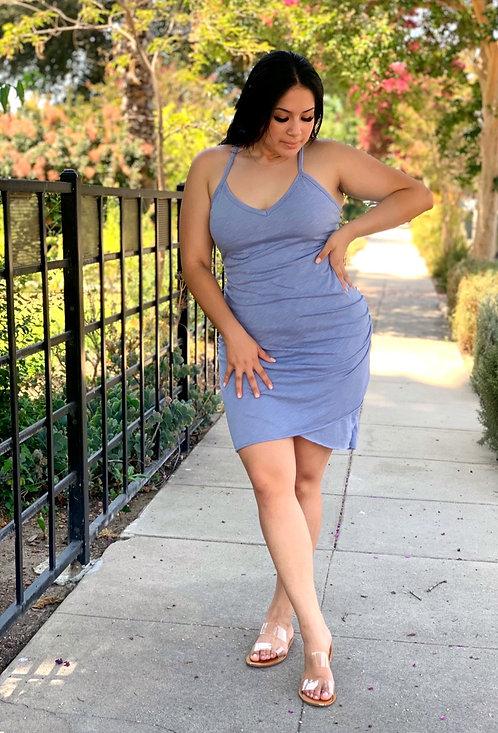 racer side cinch mini dress