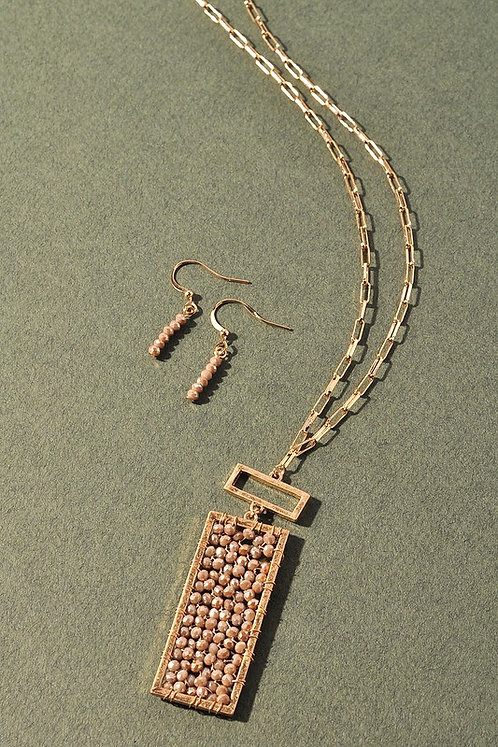 faceted bar long necklace