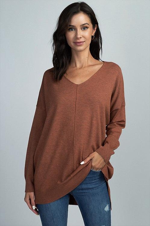 center seam v-neck sweater