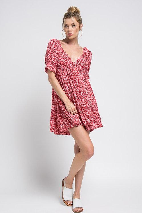 daisy babydoll mini dress