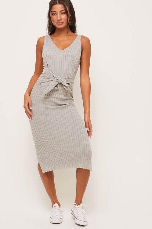 ribbed tie front midi dress