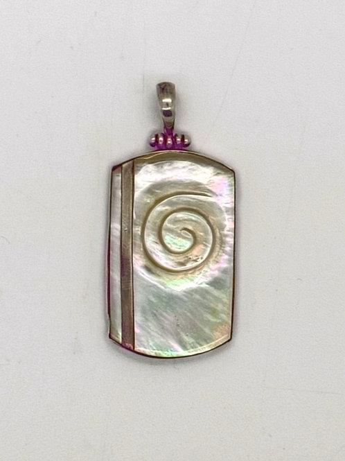 Mother of Pearl Rectangle Koru Pendant