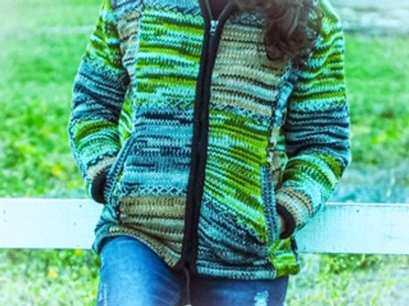 Wool Knit Patched Jacket