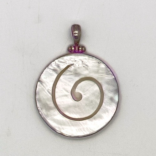 Mother of Pearl Large Spiral Pendant