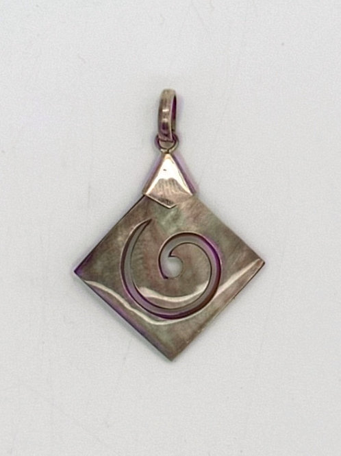 Mother of Pearl Spiral Diamond Pendant