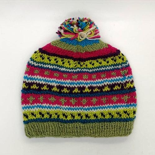 Wool Stripe Pom-pom Hat