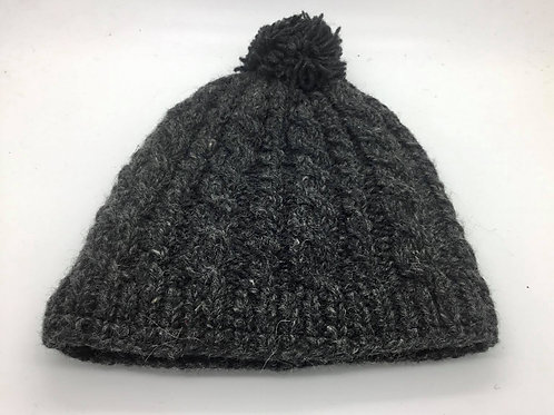 Wool Cable Pom Pom Hat