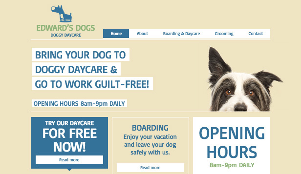 Pets & Animals website templates – Dog Day Care