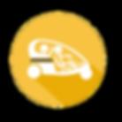 Passagers et pilote dans un velotaxis Happymoov