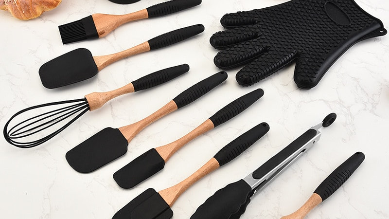 Silicone Wood Turner Soup Spoon Spatula Brush Scraper Pasta Gloves Egg Beater.