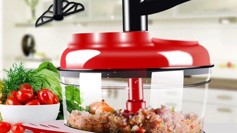 500ml-1.5l Capacity. Manual Food Processor. Meats. Vegetables. Chop. Shred. Cut.